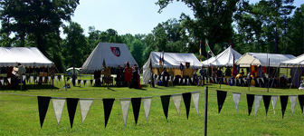 The WOW camp has a very large grassy field surrounded by woods, with plenty of room for pavilions at large tournaments.